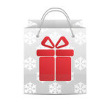 Shopping bag with a pattern of snowflakes  on a white ba Stock Images