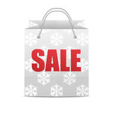 Shopping bag with a pattern of snowflakes Stock Photo