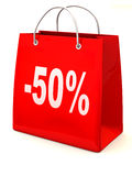 Shopping bag with percent. 3d Stock Photo