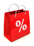 Shopping bag with percent. Royalty Free Stock Image