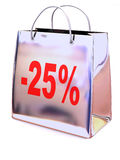 Shopping bag with percent Stock Photography