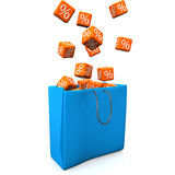 Shopping Bag Percent Cubes Stock Photo