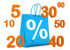 Shopping Bag Percent Numbers Stock Images