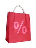 Shopping bag with percent sign Royalty Free Stock Photo