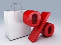 Shopping bag and percent sign Stock Photos