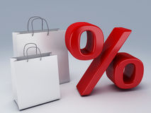 Shopping bag and percent sign Stock Photo