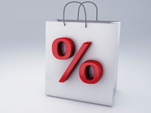 Shopping bag with percent sign Stock Photography