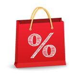 Shopping Bag with Percent Sign Royalty Free Stock Photography