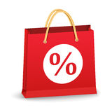 Shopping Bag with Percent Sign Royalty Free Stock Image