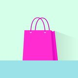 Shopping bag pink flat design vector Stock Photography