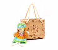 Shopping Bag of presents. On white background Royalty Free Stock Photo