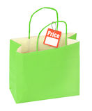 Shopping bag and price tag Stock Photo