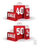 Shopping bag printed with a forty and fifty Royalty Free Stock Photo