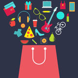 Shopping bag with purchase. Flat design vector Royalty Free Stock Photo