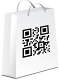 Shopping bag with qr code Stock Image