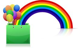 Shopping bag, rainbow and balloons Royalty Free Stock Image