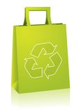 Shopping bag with recycle sign. Shopping paperbag with recycle sign stock illustration