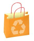 Shopping bag with recycle symbol. On white Stock Photos