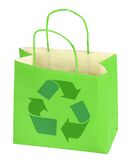 Shopping bag with recycle symbol. On white Royalty Free Stock Photo