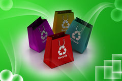 Shopping bag with recycle symbol Stock Image