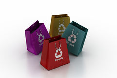 Shopping bag with recycle symbol Royalty Free Stock Images