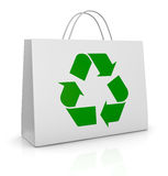 Shopping bag and recycling symbol. One white shopping bag with the recycling symbol printed on it (3d render Royalty Free Stock Photography