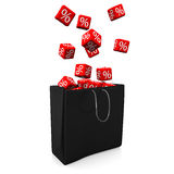 Shopping Bag Red Cubes Percents. Black shopping bag with red cubes and percents Stock Photos