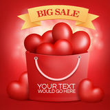 Shopping bag with red hearts inside. Big sale Stock Photography