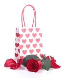 Shopping bag and red rose Royalty Free Stock Photography
