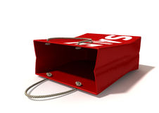Shopping Bag Red Sale Laying Down Stock Photography