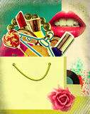 Shopping bag on retro poster.Pop art Stock Image