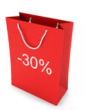 Shopping Bag (sale -30). Red shopping Bag (sale -30) on white background Royalty Free Stock Photography