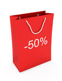 Shopping Bag (sale -50). Red shopping Bag (sale -50) on white background stock illustration