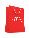 Shopping Bag (sale -70). Red shopping Bag (sale -70) on white background vector illustration