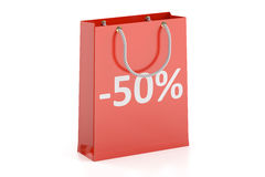 Shopping bag, sale and discount concept -50%. 3D rendering. On white background Stock Images