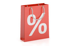 Shopping bag, sale and discount concept. 3D rendering. On white background Royalty Free Stock Photos
