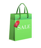 Shopping bag, sale. Shopping bag in green color. Sale Royalty Free Stock Images
