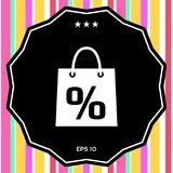 Shopping bag with the sale, percent, discount symbol. Signs and symbols - graphic elements for your design Stock Image