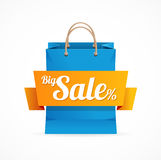 Shopping bag with SALE on ribbon. Vector Royalty Free Stock Photography