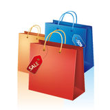 Shopping bag with sale tag Stock Photo