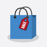 Shopping Bag with Sale Tag Stock Photos