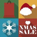 Shopping Bag, Santa`s Hat, Snowflake for Christmas Sales Season, Vector Illustration stock illustration