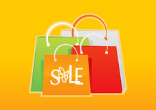 Shopping Bag Set 4. Shopping Bag painting wrapped shopping Royalty Free Illustration
