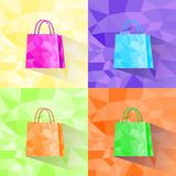 Shopping bag set polygon style colorful design Stock Photography
