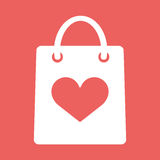Shopping bag with shape of the heart icon. Vector Flat Illustration EPS10 Stock Image
