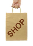 Shopping bag with SHOP text and isolated on white background. Stock Photography