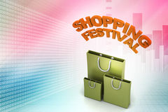Shopping bag with shopping festival text Royalty Free Stock Photo
