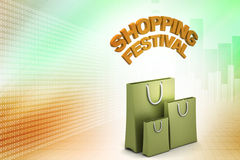 Shopping bag with shopping festival text Stock Image
