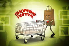 Shopping bag with shopping festival text Royalty Free Stock Image