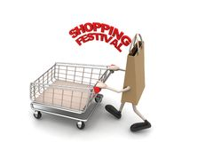 Shopping bag with shopping festival text Royalty Free Stock Photography